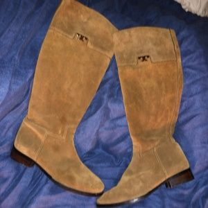 tory burch brown suede tall T boots 7.5 M